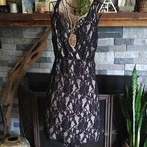 Pins & Needles Anthropologie Lace Black Nude Dress